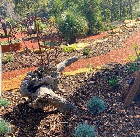 barbed wire native garden sculpture
