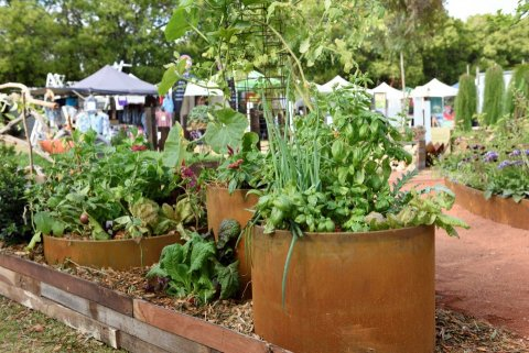 Corten vegies at our display at Perth Garden Festival 2019