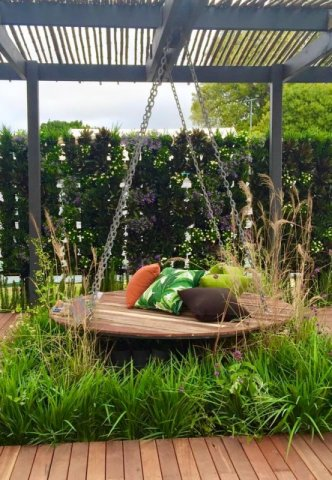 swinging daybed at Perth Garden Festival cushions from the Cushion Factory